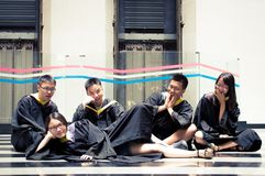 Asian Graduation group 9. Happy group of students in their graduation smiling Stock Images