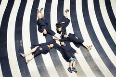 Asian Graduation group 10. Happy group of students in their graduation smiling Royalty Free Stock Photos