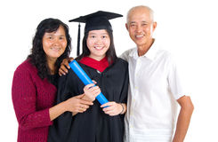 Asian graduation. Asian university student and family celebrating graduation stock photo