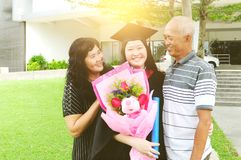 Asian graduation. Asian university student and family celebrating graduation outdoor stock photos