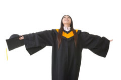 Asian graduation woman feel fre Stock Photo
