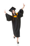 Asian graduation woman. Happy smiling young asian graduation woman. Full length. Isolated on white background Stock Photos
