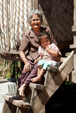Asian grandmother with granddaughter Royalty Free Stock Image