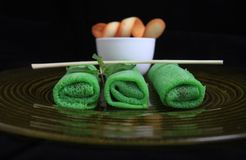 Asian green spring roll Stock Photography