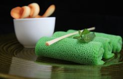 Asian green spring roll. Photograph asian green spring roll Royalty Free Stock Image