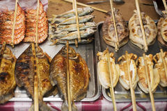 Asian grilled barbecued seafood in kep market cambodia Stock Photos