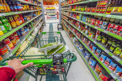 Asian grocery aisle. Cruising down with cart on an asian grocery aisle