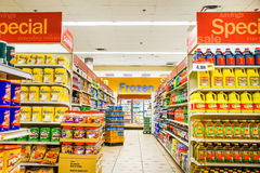 Asian grocery beverage aisle Royalty Free Stock Photo