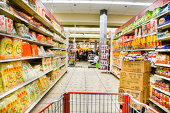 Asian grocery noodle aisle Stock Photography