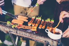Asian group of friends having outdoor garden barbecue laughing w stock image