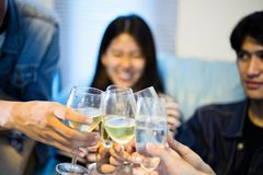 Asian group of friends having party with alcoholic beer drinks a Stock Photos
