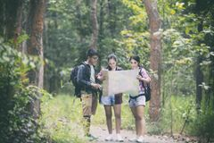 Asian Group of young people Hiking with friends backpacks walkin Royalty Free Stock Images