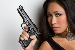 Asian Gun Woman Royalty Free Stock Photo