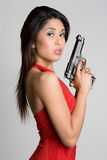 Asian Gun Woman Royalty Free Stock Images
