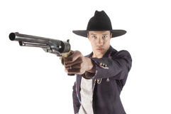 Asian gunfighter Royalty Free Stock Image