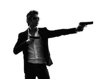 Asian gunman killer  portrait shooting silhouette Royalty Free Stock Photos