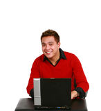 Asian guy with computer Royalty Free Stock Images