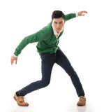 Asian guy with dramatic pose. Full length portrait isolated on white background stock photography