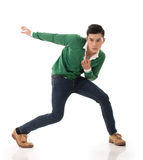 Asian guy with dramatic pose Royalty Free Stock Images