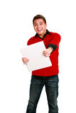 Asian guy holding out binder Stock Images