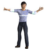 Asian guy pointing the way. 3d render of an Asian guy pointing the way Stock Photo