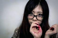 Asian halloween makeup artist stock photo
