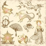 Asian Hand Drawn Elements Royalty Free Stock Image