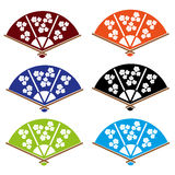 Asian hand fan various colors set Stock Photography