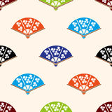 Asian hand fan various colors set seamless pattern Royalty Free Stock Images