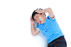 Asian handsome boy have a headache. Isolated on white background Royalty Free Stock Images