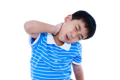Asian handsome boy have a neck pain. Isolated on white backgroun. Asian child have a neck pain, his hand on neck, emotion feeling sign. Isolated on white Stock Image