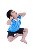 Asian handsome boy have a neck pain. Isolated on white backgroun. Full body of asian child have a neck pain, his hand on neck, emotion feeling sign. Isolated on Royalty Free Stock Image