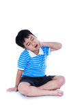 Asian handsome boy have a neck pain. Isolated on white backgroun. Full body of asian child have a neck pain, his hand on neck, emotion feeling sign. Isolated on Royalty Free Stock Images