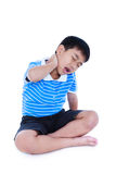 Asian handsome boy have a neck pain. Isolated on white backgroun. Full body of asian child have a neck pain, his hand on neck, emotion feeling sign. Isolated on Royalty Free Stock Photography