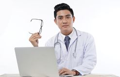 Asian Handsome Doctor Isolated on White Background Stock Photography