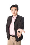 Asian handsome man with the keys of his new car, isolated on whi Stock Images