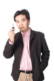 Asian handsome man with the keys of his new car, isolated on whi Stock Image
