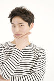 Asian handsome man in striped shirt Stock Images
