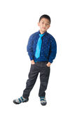 Asian Happy Boy with necktie standing and Smiling,  on w Stock Image