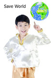 Asian happy boy in thai costume Royalty Free Stock Photography