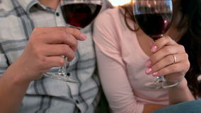 Asian happy couple drinking wine. At home stock footage