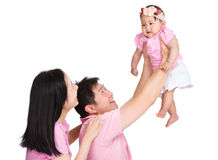 Asian happy family throw up daughter Stock Image