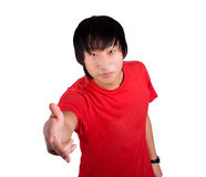Asian happy man give the hand Royalty Free Stock Photography