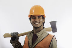 Asian hard hat worker Stock Image