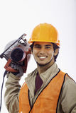 Asian hardhat worker Stock Photo