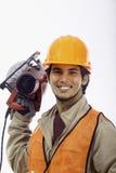 Asian hardhat worker Stock Photo