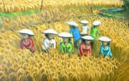 Asian Harvest digital painting Stock Image