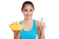 Asian healthy girl eat  french fries show thumbs up Stock Photography