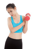 Asian healthy girl got arm pain with dumbbell Royalty Free Stock Photo