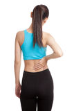 Asian healthy girl got back pain Royalty Free Stock Images